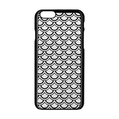 Scales2 Black Marble & White Leather Apple Iphone 6/6s Black Enamel Case by trendistuff