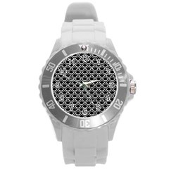 Scales2 Black Marble & White Leather (r) Round Plastic Sport Watch (l) by trendistuff