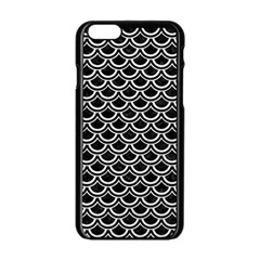 Scales2 Black Marble & White Leather (r) Apple Iphone 6/6s Black Enamel Case by trendistuff