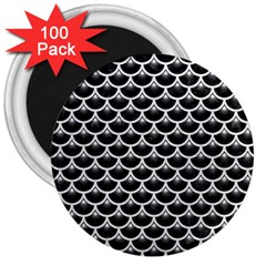 Scales3 Black Marble & White Leather (r) 3  Magnets (100 Pack) by trendistuff