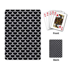 Scales3 Black Marble & White Leather (r) Playing Card by trendistuff