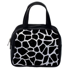 Skin1 Black Marble & White Leather Classic Handbags (one Side) by trendistuff