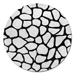 Skin1 Black Marble & White Leather (r) Magnet 5  (round) by trendistuff