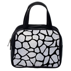 Skin1 Black Marble & White Leather (r) Classic Handbags (one Side) by trendistuff