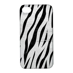 Skin3 Black Marble & White Leather Apple Iphone 4/4s Hardshell Case With Stand by trendistuff