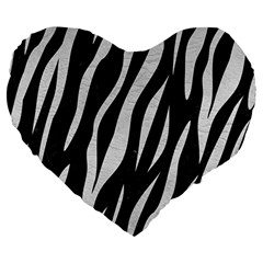 Skin3 Black Marble & White Leather (r) Large 19  Premium Heart Shape Cushions by trendistuff