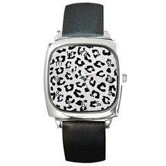 Skin5 Black Marble & White Leather (r) Square Metal Watch by trendistuff