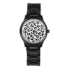 Skin5 Black Marble & White Leather (r) Stainless Steel Round Watch by trendistuff