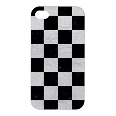Square1 Black Marble & White Leather Apple Iphone 4/4s Hardshell Case by trendistuff