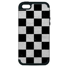 Square1 Black Marble & White Leather Apple Iphone 5 Hardshell Case (pc+silicone) by trendistuff