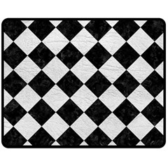 Square2 Black Marble & White Leather Fleece Blanket (medium)  by trendistuff