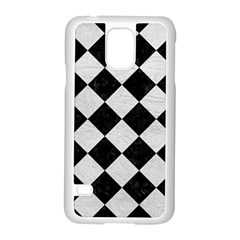 Square2 Black Marble & White Leather Samsung Galaxy S5 Case (white) by trendistuff