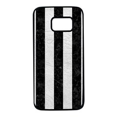 Stripes1 Black Marble & White Leather Samsung Galaxy S7 Black Seamless Case by trendistuff