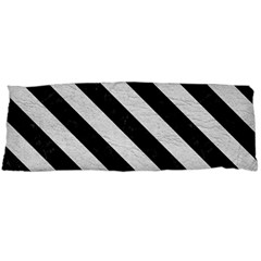 Stripes3 Black Marble & White Leather Body Pillow Case (dakimakura) by trendistuff