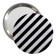 Stripes3 Black Marble & White Leather (r) 3  Handbag Mirrors by trendistuff