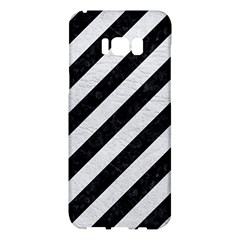 Stripes3 Black Marble & White Leather (r) Samsung Galaxy S8 Plus Hardshell Case  by trendistuff