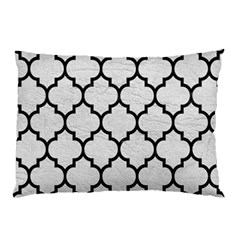 Tile1 Black Marble & White Leather Pillow Case by trendistuff