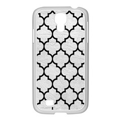 Tile1 Black Marble & White Leather Samsung Galaxy S4 I9500/ I9505 Case (white)