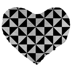 Triangle1 Black Marble & White Leather Large 19  Premium Heart Shape Cushions by trendistuff
