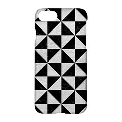Triangle1 Black Marble & White Leather Apple Iphone 8 Hardshell Case by trendistuff