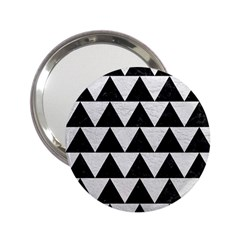 Triangle2 Black Marble & White Leather 2 25  Handbag Mirrors by trendistuff