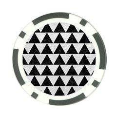 Triangle2 Black Marble & White Leather Poker Chip Card Guard by trendistuff