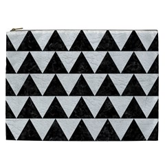 Triangle2 Black Marble & White Leather Cosmetic Bag (xxl)  by trendistuff