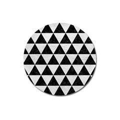 Triangle3 Black Marble & White Leather Magnet 3  (round) by trendistuff