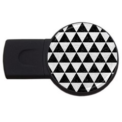 Triangle3 Black Marble & White Leather Usb Flash Drive Round (2 Gb) by trendistuff