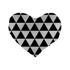 Triangle3 Black Marble & White Leather Standard 16  Premium Heart Shape Cushions by trendistuff