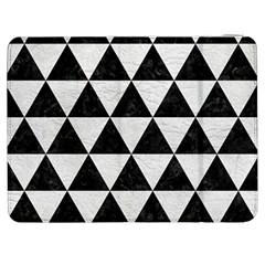 Triangle3 Black Marble & White Leather Samsung Galaxy Tab 7  P1000 Flip Case by trendistuff