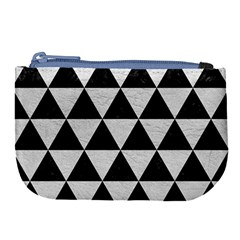 Triangle3 Black Marble & White Leather Large Coin Purse by trendistuff