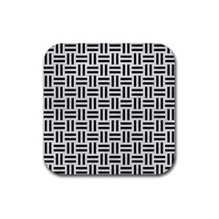 Woven1 Black Marble & White Leather Rubber Square Coaster (4 Pack)
