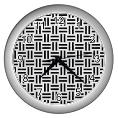 Woven1 Black Marble & White Leather Wall Clocks (silver)  by trendistuff