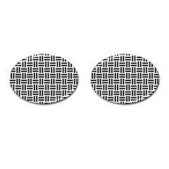Woven1 Black Marble & White Leather Cufflinks (oval) by trendistuff
