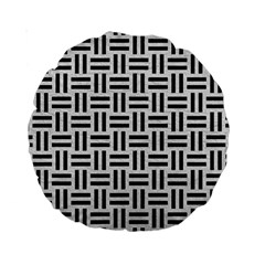 Woven1 Black Marble & White Leather Standard 15  Premium Round Cushions by trendistuff
