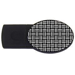 Woven1 Black Marble & White Leather (r) Usb Flash Drive Oval (4 Gb) by trendistuff