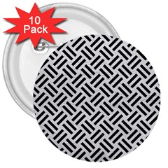 Woven2 Black Marble & White Leather 3  Buttons (10 Pack)  by trendistuff