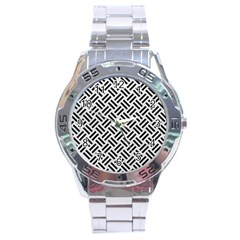 Woven2 Black Marble & White Leather Stainless Steel Analogue Watch by trendistuff