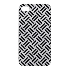 Woven2 Black Marble & White Leather Apple Iphone 4/4s Hardshell Case by trendistuff