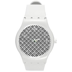 Woven2 Black Marble & White Leather Round Plastic Sport Watch (m) by trendistuff