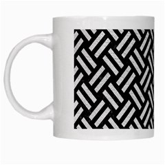 Woven2 Black Marble & White Leather (r) White Mugs by trendistuff