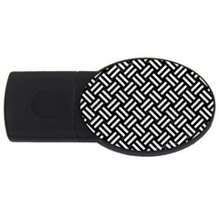 Woven2 Black Marble & White Leather (r) Usb Flash Drive Oval (4 Gb) by trendistuff