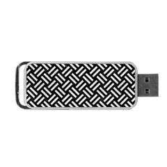 Woven2 Black Marble & White Leather (r) Portable Usb Flash (one Side) by trendistuff