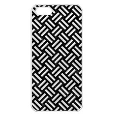 Woven2 Black Marble & White Leather (r) Apple Iphone 5 Seamless Case (white)
