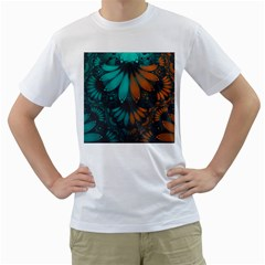 Beautiful Teal And Orange Paisley Fractal Feathers Men s T Shirt (white) (two Sided) by jayaprime