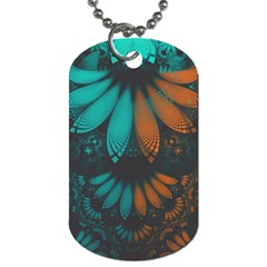Beautiful Teal And Orange Paisley Fractal Feathers Dog Tag (one Side) by jayaprime