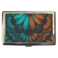 Beautiful Teal And Orange Paisley Fractal Feathers Cigarette Money Cases by jayaprime