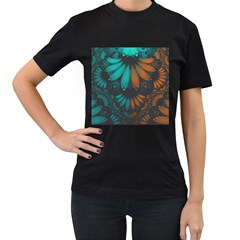 Beautiful Teal And Orange Paisley Fractal Feathers Women s T Shirt (black) (two Sided) by jayaprime