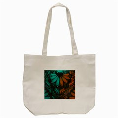 Beautiful Teal And Orange Paisley Fractal Feathers Tote Bag (cream)